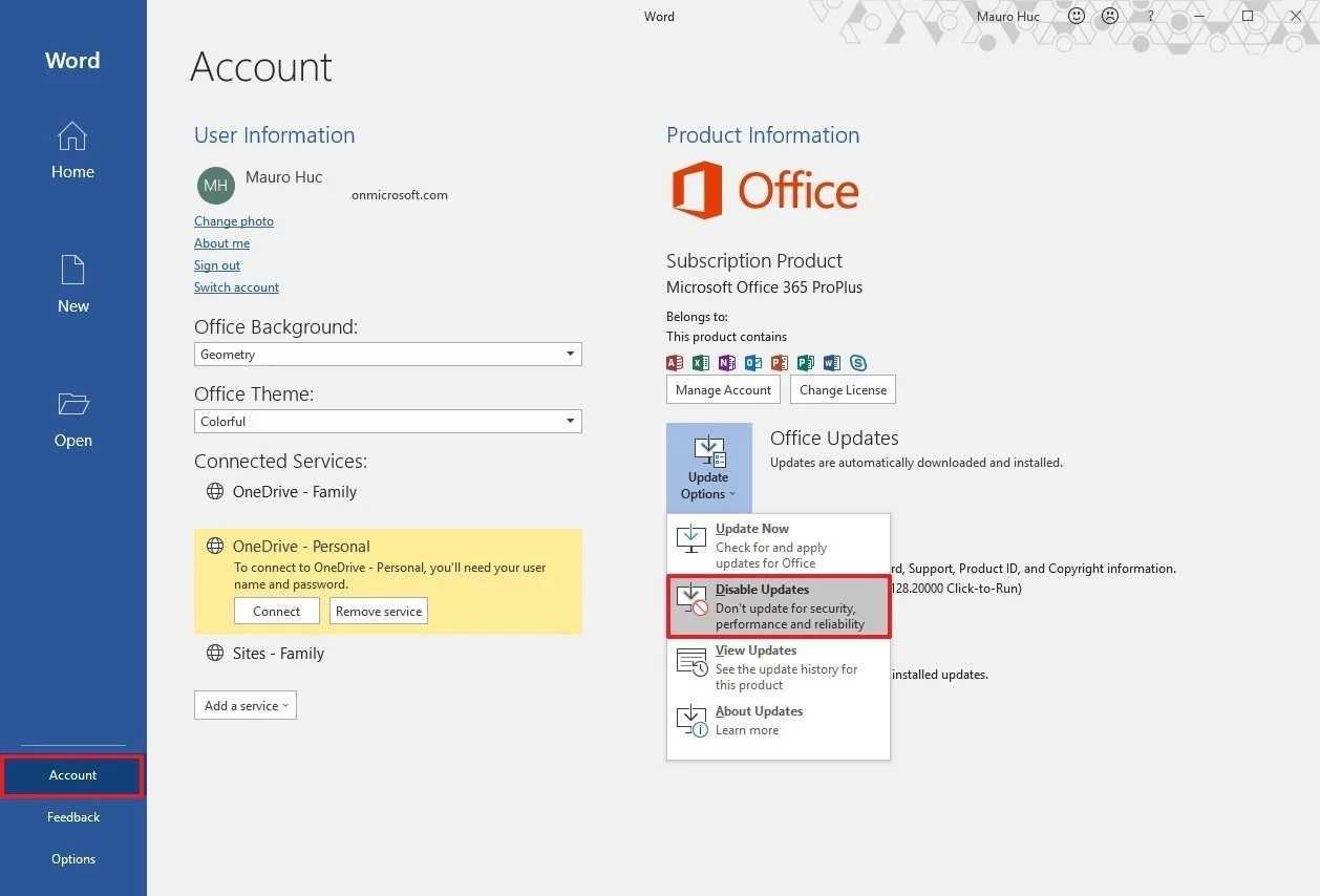 disable updates office 365 2019 - آموزش غیرفعال سازی آپدیتهای آفیس روی ویندوز 10