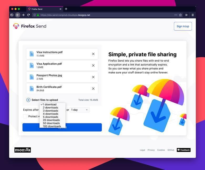 image001 - رونمایی موزیلا از سرویس اشتراکگذاری فایل Firefox Send