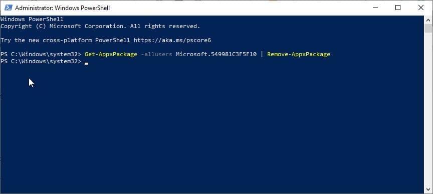 1590850331 cortana powershell uninstall command 1 - آموزش نصب یا حذف دستیار هوشمند کورتانا در ویندوز 10