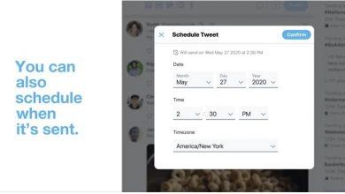 تصویر از قابلیت زمانبندی ارسال توییت به سایت توییتر افزوده شد.