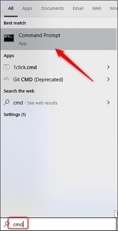 xCommand prompt app in windows search.png.pagespeed.gpjpjwpjwsjsrjrprwricpmd.ic .NejjUDiURq - نحوه یافتن و بازکردن فایل ها با استفاده از CMD ویندوز 10