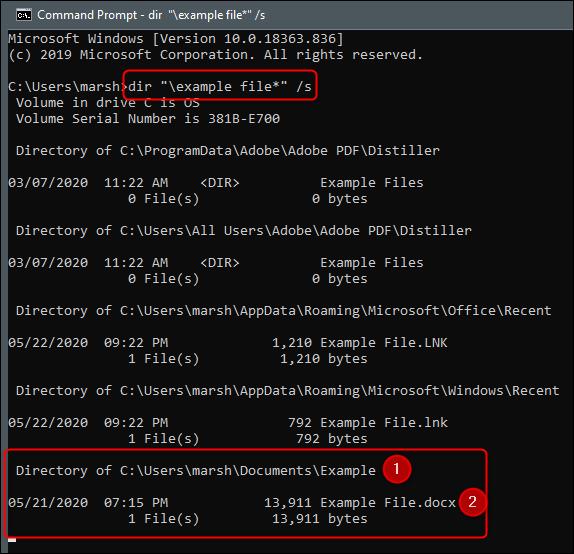 xFind a file in the folder with dir command.png.pagespeed.gpjpjwpjwsjsrjrprwricpmd.ic .Md QPY GRk - نحوه یافتن و بازکردن فایل ها با استفاده از CMD ویندوز 10