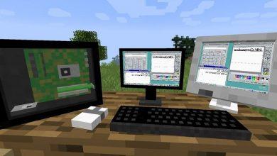 تصویر از اجرای بازی Doom روی یک کامپیوتر ویندوز 95 درون بازی ماینکرافت