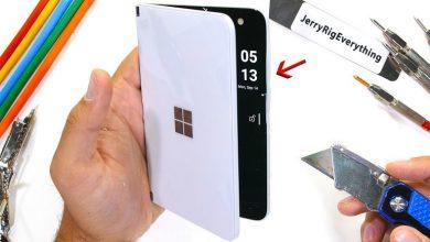 تصویر از تماشا کنید: تست مقاومت گوشی سرفیس Duo مایکروسافت