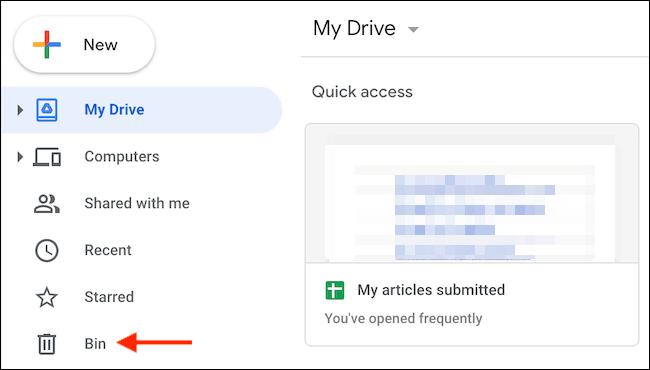 Click Bin in Sidebar - نحوه حذف داده ها و آزاد سازی فضا در گوگل درایو