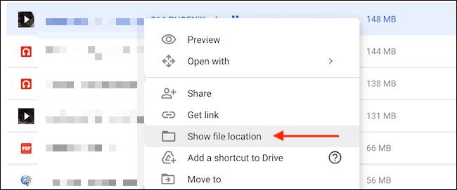Click Show File Location - نحوه حذف داده ها و آزاد سازی فضا در گوگل درایو