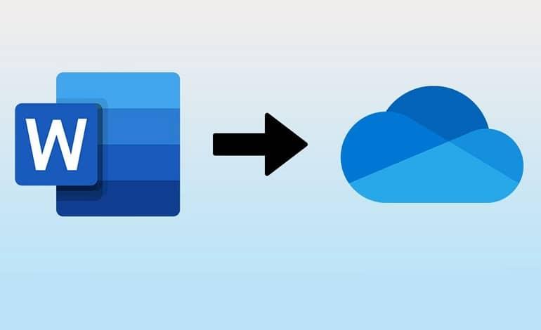 microsoft word logo with an arrow pointing at onedrive logo - نحوه ذخیره خودکار فایل مایکروسافت ورد در وان درایو