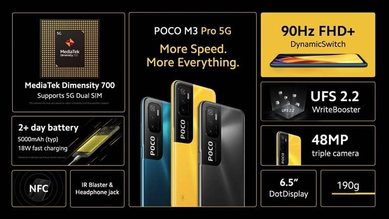 poco m3 pro announced - پوکو M3 پرو 5G با تراشه دایمنسیتی 700 و نمایشگر 90 هرتز معرفی شد