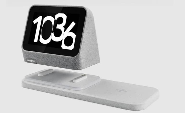 Lenovo Smart Clock 2 charging dock c - معرفی لنوو Smart Clock 2 با طراحی جدید و داک شارژ بیسیم