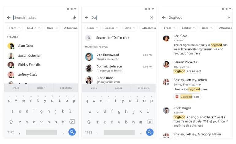 google chat search update - گوگل چت به قابلیت جستجوی پیشرفته مجهز شد