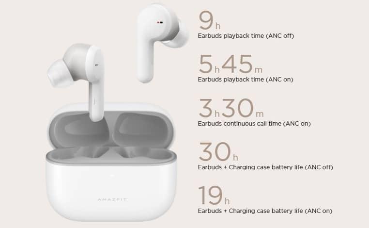 Amazfit PowerBuds Pro battery life - معرفی ایربادز Amazfit PowerBuds Pro با چندین ویژگی سلامتی و ANC