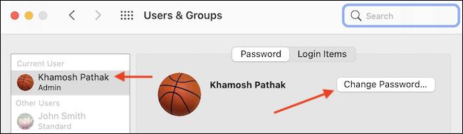 Click Change Password in User Profile - چگونه رمز ورود خود را در Mac تغییر دهیم