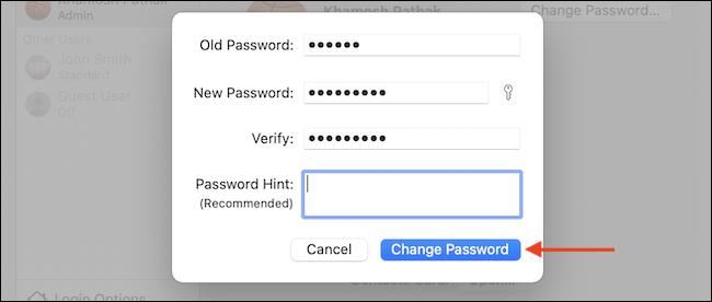 Click Change Password - چگونه رمز ورود خود را در Mac تغییر دهیم