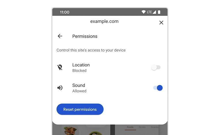 chrome android privacy security permissions access actions - نسخه اندروید مرورگر گوگل کروم مدیریت مجوزهای سایت ها را آسان تر می کند