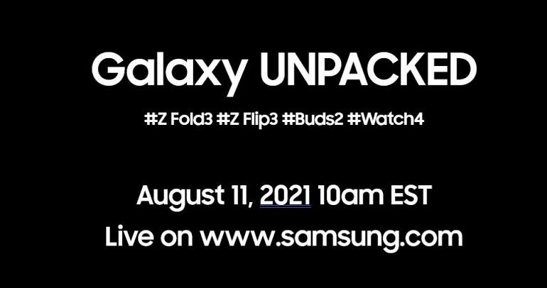 samsung unpacked august 11 - برگزاری رویداد معرفی گلکسی زد فولد 3، زد فلیپ 3، بادز 2 و واچ 4 در تاریخ 11 آگوست