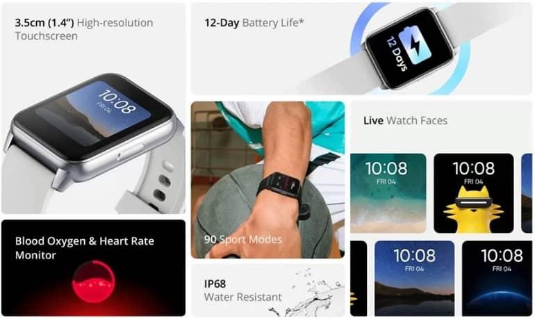 DIZO Watch features 1024x611 1 - معرفی ساعت هوشمند DIZO Watch با عمر باتری 12 روزه