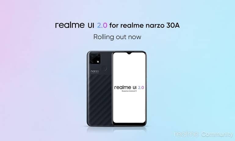 realme narzo 30a android 11 realme ui 2 stable update - ریلمی Narzo 30A آپدیت پایدار اندروید 11 را دریافت کرد