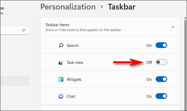 win11 taskview switch off - نحوه پنهان کردن دکمه Task View در ویندوز 11