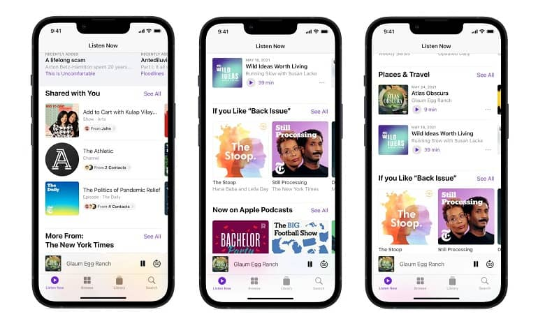 apple personalized recommendations podcasts - افزودن توصیه های شخصی سازی شده در صفحه Listen Now پادکست اپل