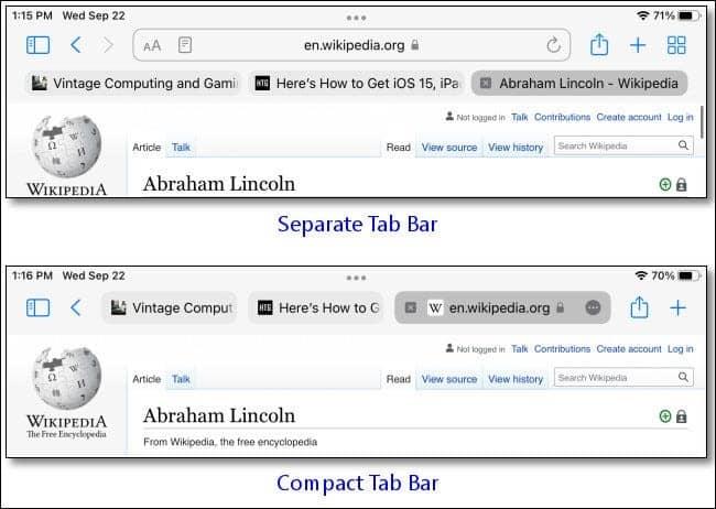 ipad separate compact tab bar example - چگونه نوار تب سافاری جدید را در آیپد امتحان کنیم