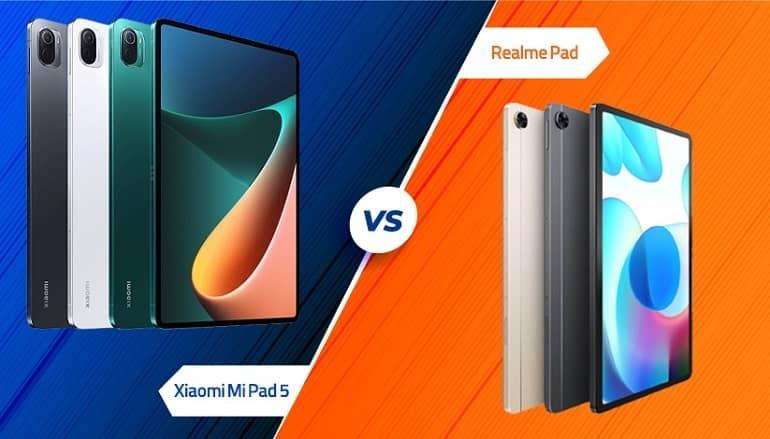realme pad vs xiaomi mi pad 5 specs comparison - مقایسه مشخصات ریلمی پد و شیائومی می پد 5