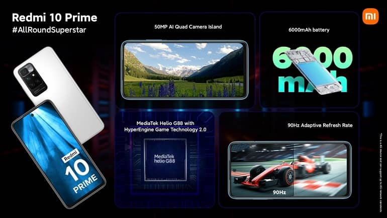 redmi 10 prime ofic - ردمی 10 پرایم با باتری 6000 میلیآمپرساعتی معرفی شد