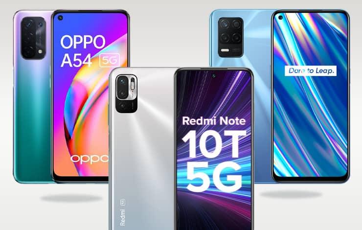 redmi note 10t 5g vs realme 8 5g vs oppo a54 5g specs comparison - مقایسه مشخصات ردمی نوت 10T 5G و ریلمی 8 5G و اوپو A54 5G