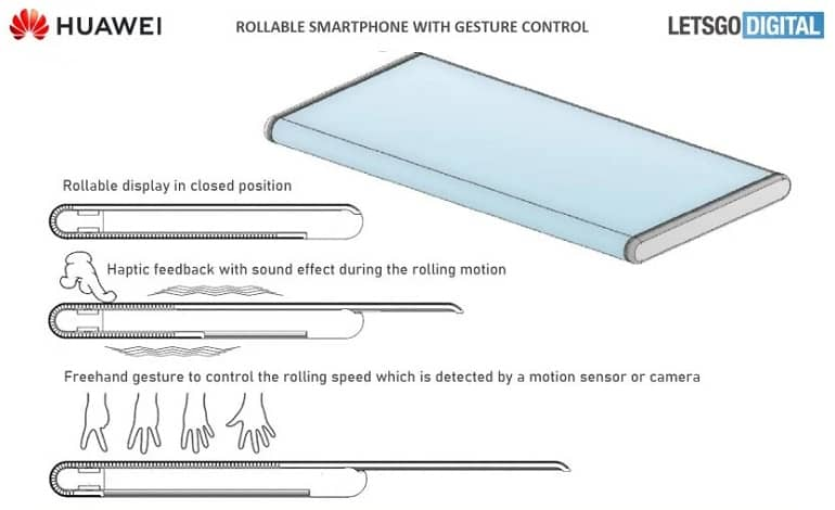 rollable smartphone freehand gesture control 770x508 1 - ثبت پتنت جدید هواوی از گوشی با نمایشگر رول شدنی و ژست های کنترلی