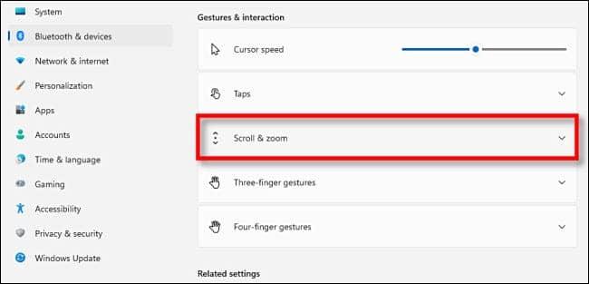 win11 select scroll and zoom - نحوه تغییر جهت اسکرول تاچ پد در ویندوز 11