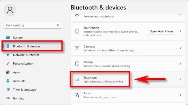 win11 settings touchpad - نحوه تغییر جهت اسکرول تاچ پد در ویندوز 11