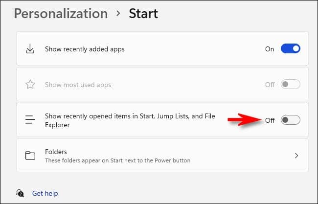 win11 switch off recently opened - آموزش پنهان کردن فایل های Recommended در منوی استارت ویندوز 11